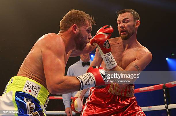 Andy Lee and Billy Joe Saunders during their WBO World Middleweight title fight at the Manchester Arena on December 19 2015 in Manchester England