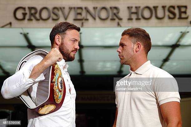 Andy Lee and Billy Joe Saunders go headtohead ahead at the Andy Lee and Billy Joe Saunders Press Conference at the Grosvenor House Hotel on July 22...