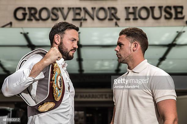 Andy Lee and Billy Joe Saunders go headtohead ahead of the Andy Lee and Billy Joe Saunders Press Conference at the Grosvenor House Hotel on July 22...
