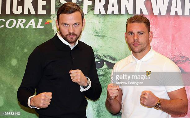 Andy Lee and Billy Joe Saunders pose for a photo during their Head to Head Press Conference at the Landmark Hotel on October 22 2015 in London England