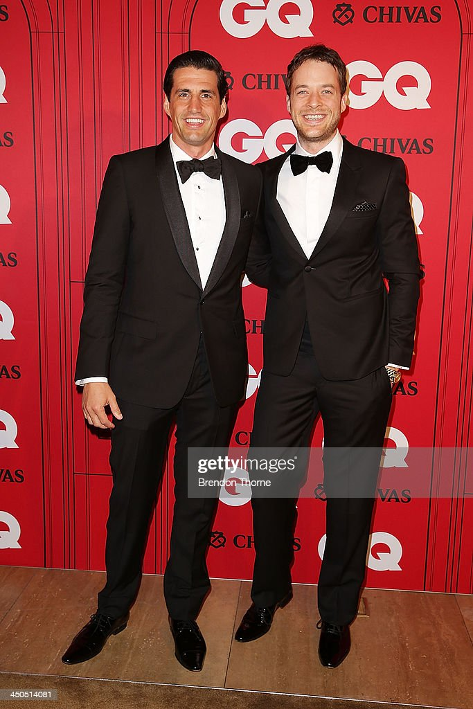 Andy Lee and Hamish Blake arrives at the GQ Men of the Year awards at the Ivy Ballroom on November 19, 2013 in Sydney, Australia.