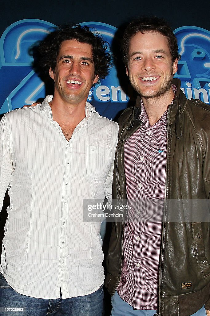 Andy Lee (L) and <a gi-track='captionPersonalityLinkClicked' href=/galleries/search?phrase=Hamish+Blake&family=editorial&specificpeople=2218202 ng-click='$event.stopPropagation()'>Hamish Blake</a> pose at the Nine 2013 program launch at Myer on November 28, 2012 in Melbourne, Australia.