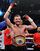 Andy Lee celebrates is win over Matt Korobov after their fight for a vacant WBO middleweight title at The Chelsea at The Cosmopolitan of Las Vegas on...