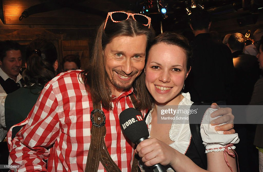Andy Lepsi and Irene Knoblechner pose during the beauty competition 'Miss Wiener Wiesn-Fest 2013' at Bettel-Alm on June 6, 2013 in Vienna, Austria.