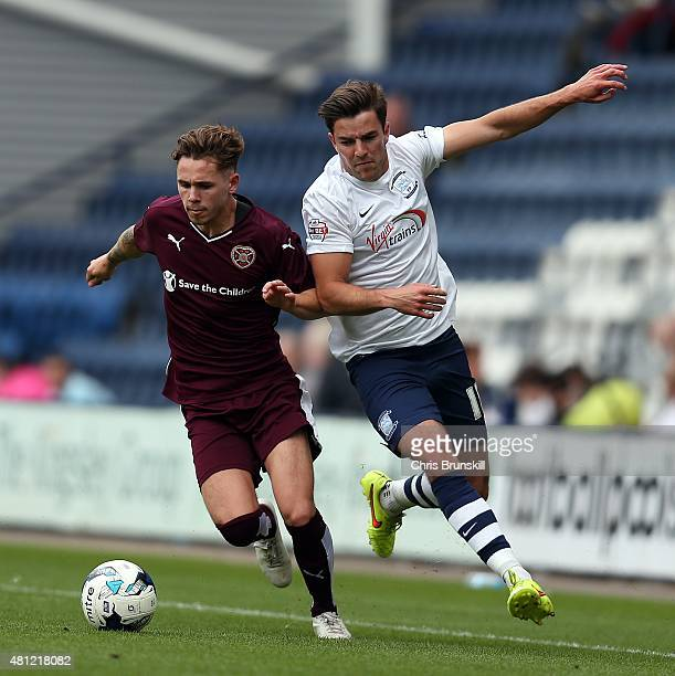 Andy Little of Preston North End in action with Sam Nicholson of Hearts during the pre season friendly match between Preston North End and Hearts at...