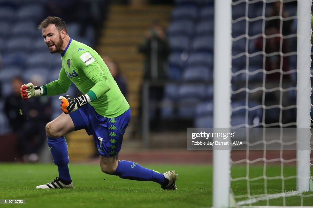 Andy Lonergan of Leeds United a penalty during the Carabao Cup Third Round match between Burnley and Leeds United at Turf Moor on September 19, 2017 in Burnley, England.