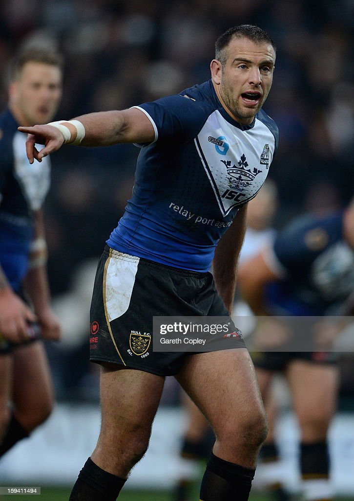 Andy Lynch of Hull FC in action during a pre-season friendly match between Hull FC and Castleford Tigers at The KC Stadium on January 13, 2013 in Hull, England.