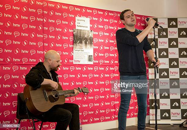 Andy MacFarlane and James Graham of The Twilight Sad perform on stage at HMV on November 27 2014 in Glasgow United Kingdom