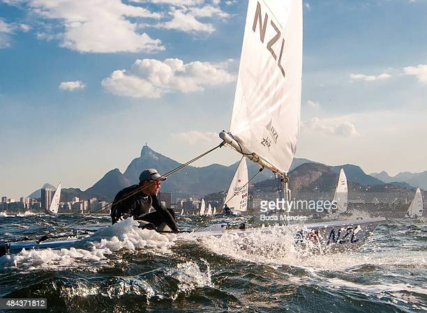Andy Maloney of New Zealand sails in the men's Laser class on the Escola Naval course during the International Sailing Regatta Aquece Rio Test Event...