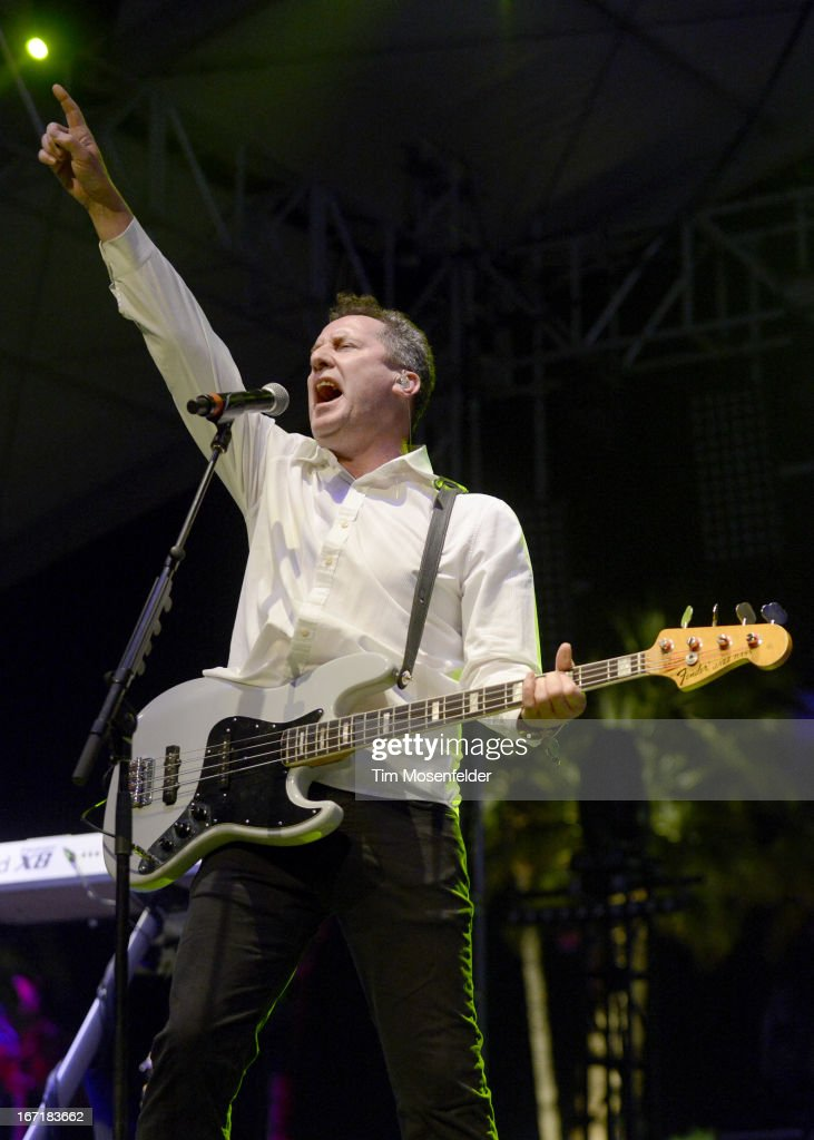Andy McCluskey of Orchestral Manoeuvres in the Dark or OMD performs as part of the 2013 Coachella Valley Music & Arts Festival at the Empire Polo Field on April 21, 2013 in Indio, California.