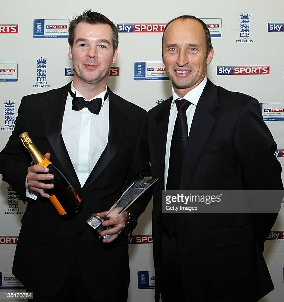 Andy McCrea pose with his award for Outstanding Coaching Contributions with Nasser Hussain during the ECB Awards at Lords on December 10 2011 in...