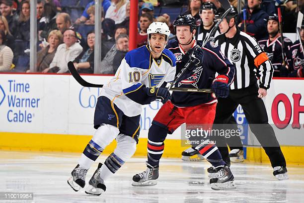 Andy McDonald of the St Louis Blues skates against the Columbus Blue Jackets on March 9 2011 at Nationwide Arena in Columbus Ohio