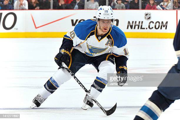 Andy McDonald of the St Louis Blues skates against the Columbus Blue Jackets on March 11 2012 at Nationwide Arena in Columbus Ohio