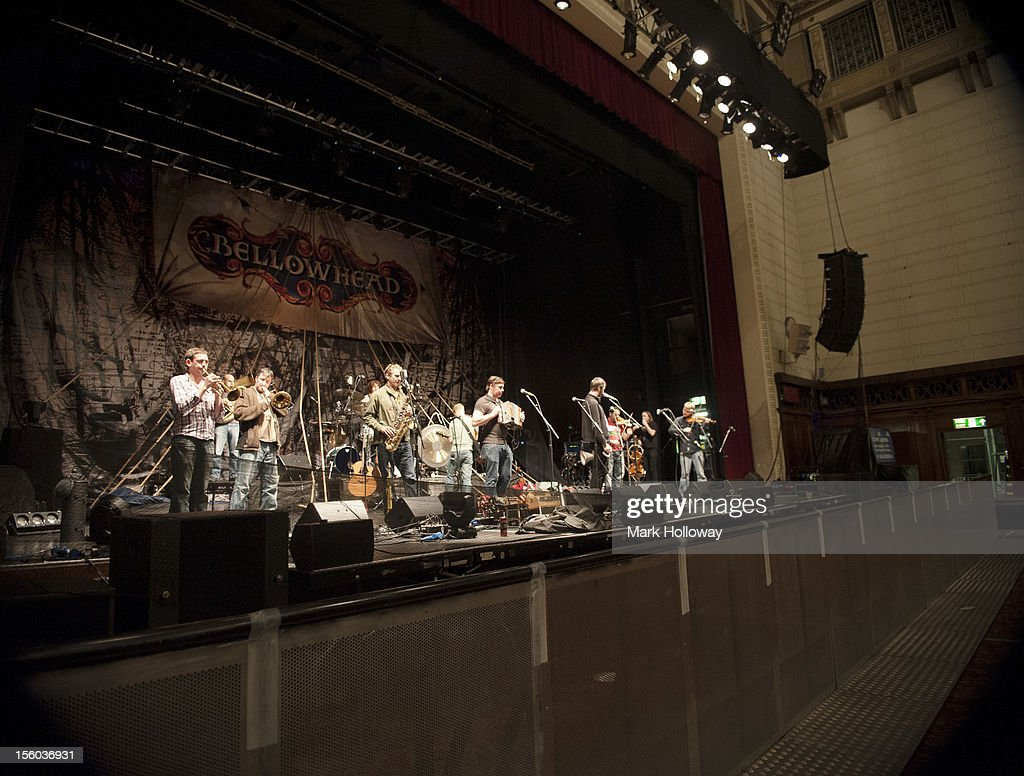 Andy Mellon, Justin Thurgur, Benji Kirkpatrick, John Spiers, Jon Boden, Paul Sartin and Sam of Bellowhead performing on stage during sound check at Southampton Guildhall on November 11, 2012 in Southampton, United Kingdom.