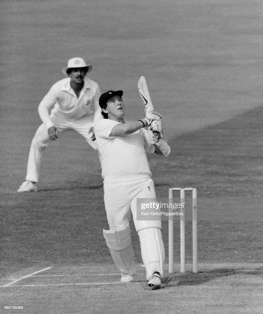 Andy Moles batting for Warwickshire during his innings of 137 in the Britannic Assurance County Championship match between Warwickshire and Worcestershire at Edgbaston, Birmingham, 31st August 1987. The Worcestershire fielder is Damien D'Oliveira. The match ended in a draw.