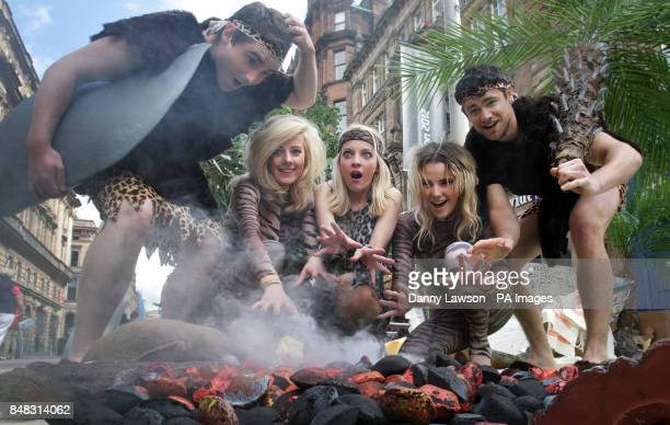 Andy Moore Melanie McDonald Lynsey Lawrie Jodie Waite and Ruaridh Crighton pictured with fake hot coals as a section of Buchanan Street Glasgow is...