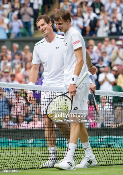 Andy Murray [1] of Great Britain celebrates his victory against Alexander Bublik of Kazakhstan in their Men's Singles First Round Match at All...