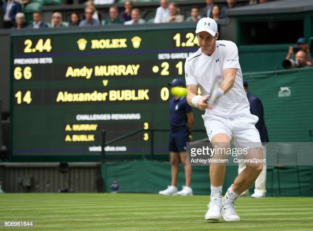 Andy Murray [1] of Great Britain in action during his victory over Alexander Bublik of Kazakhstan in their Men's Singles First Round Matcht All...