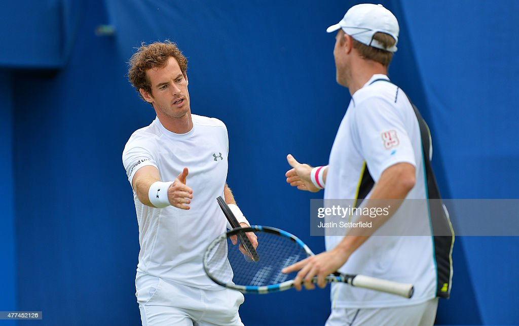<a gi-track='captionPersonalityLinkClicked' href=/galleries/search?phrase=Andy+Murray+-+Tennis+Player&family=editorial&specificpeople=200668 ng-click='$event.stopPropagation()'>Andy Murray</a> and Dominic Inglot of Great Britain react in their men's doubles first round match against <a gi-track='captionPersonalityLinkClicked' href=/galleries/search?phrase=Alexander+Peya&family=editorial&specificpeople=647128 ng-click='$event.stopPropagation()'>Alexander Peya</a> of Austria and Bruno Soares of Brazil during day three of the Aegon Championships at Queen's Club on June 17, 2015 in London, England.