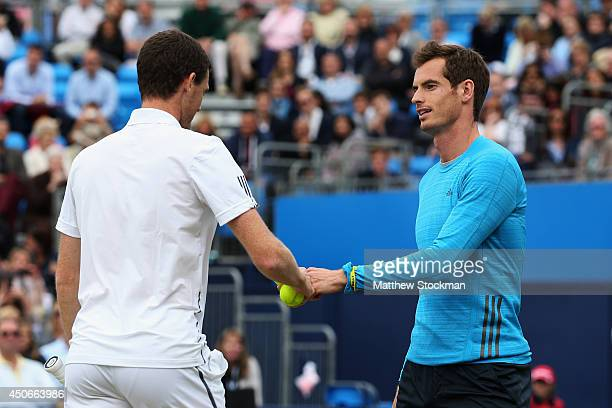 Andy Murray and his brother Jamie Murray play in a 'Rally for Bally' charity event on day seven of the Aegon Championships at Queens Club on June 15...