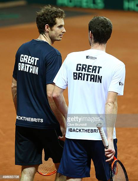 Andy Murray and Jamie Murray of Great Britain during a doubles practice session ahead of the start of the Davis Cup Final at Flanders Expo on...