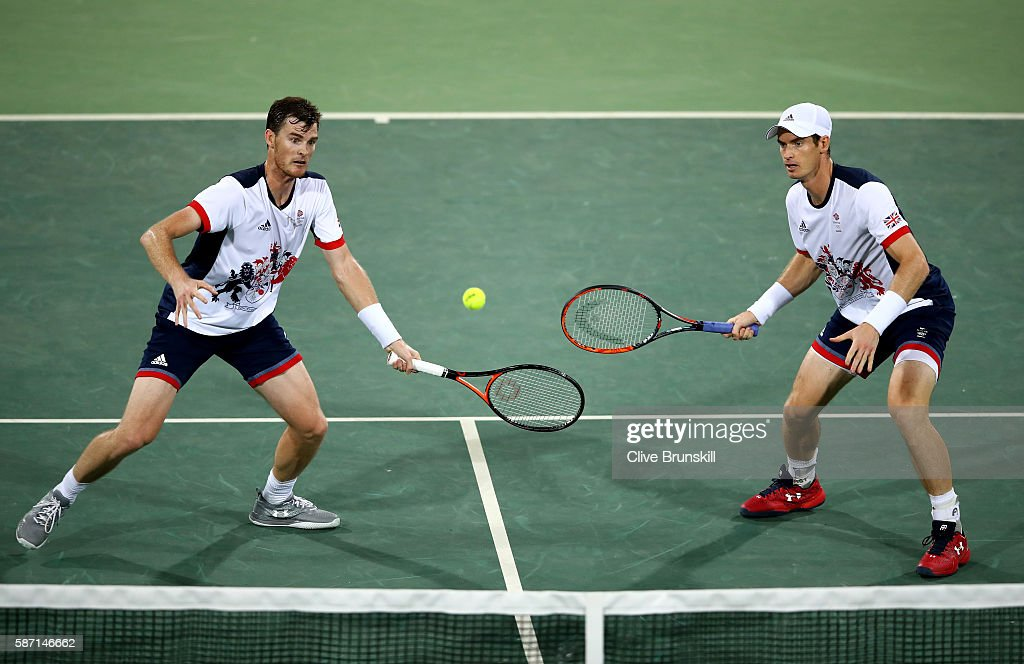 Andy Murray and Jamie Murray of Great Britain in action against Thomaz Bellucci and Andre Sa of Brazil in the mens doubles on Day 2 of the Rio 2016 Olympic Games at the Olympic Tennis Centre on August 7, 2016 in Rio de Janeiro, Brazil.