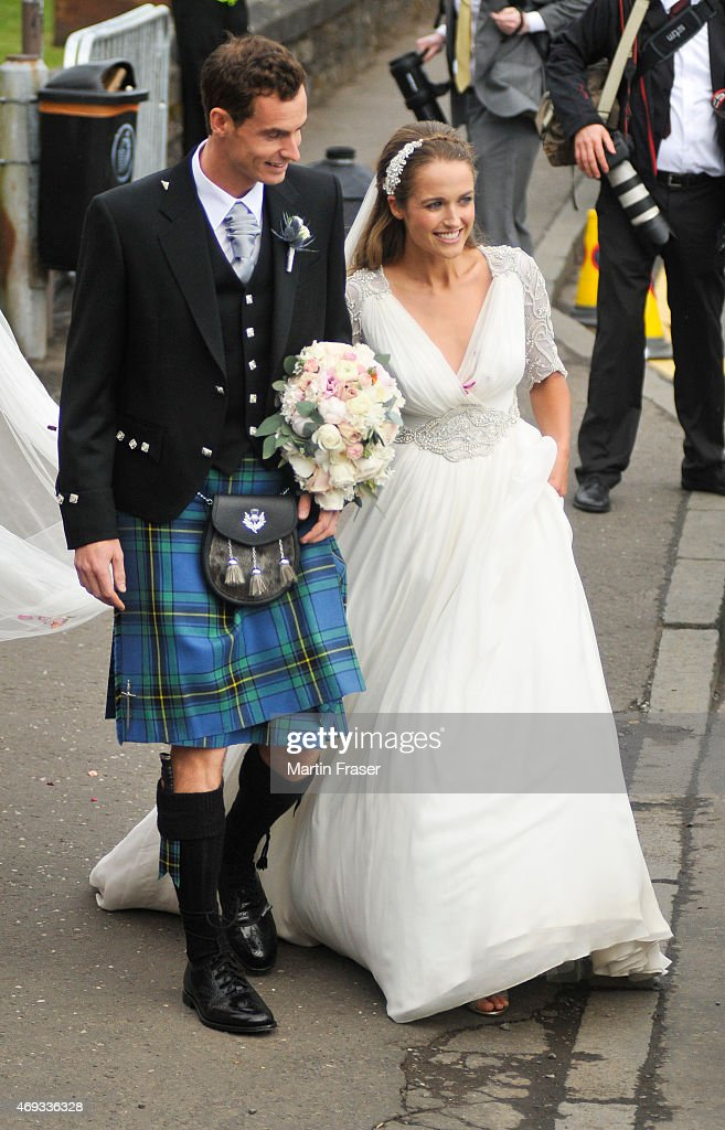Andy Murray and <a gi-track='captionPersonalityLinkClicked' href=/galleries/search?phrase=Kim+Sears&family=editorial&specificpeople=582322 ng-click='$event.stopPropagation()'>Kim Sears</a> leave Dunblane Cathedral after their wedding on April 11, 2015 in Dunblane, Scotland.