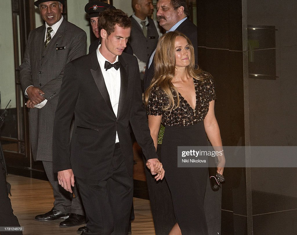 <a gi-track='captionPersonalityLinkClicked' href=/galleries/search?phrase=Andy+Murray+-+Tennisspelare&family=editorial&specificpeople=200668 ng-click='$event.stopPropagation()'>Andy Murray</a> and Kim Sears sighting at the InterContinental Park Lane Hotel on July 7, 2013 in London, England.