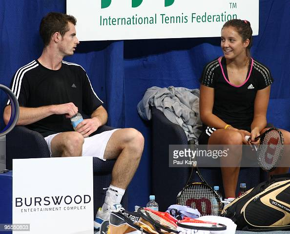Andy Murray and Laura Robson of Great Britain talk on the sidelines at a practice session during day two of the Hopman Cup at the Burswood Dome on...