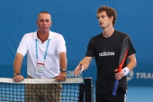 Andy Murray and new coach Ivan Lendl during a practice session during day seven of the 2012 Brisbane International at Pat Rafter Arena on January 7...