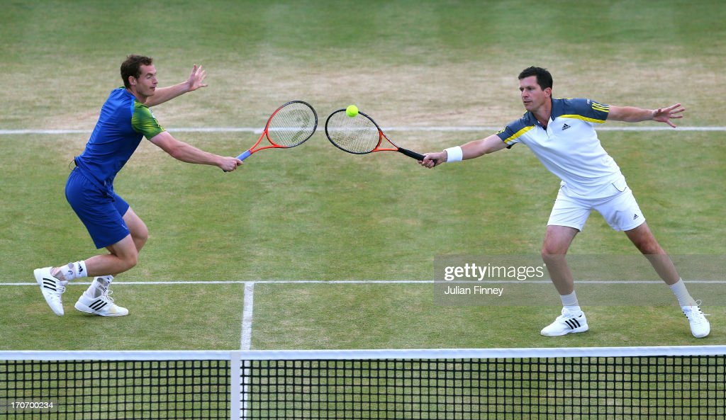 <a gi-track='captionPersonalityLinkClicked' href=/galleries/search?phrase=Andy+Murray+-+Tennis+Player&family=editorial&specificpeople=200668 ng-click='$event.stopPropagation()'>Andy Murray</a> and <a gi-track='captionPersonalityLinkClicked' href=/galleries/search?phrase=Tim+Henman+-+Tennis+Player&family=editorial&specificpeople=167277 ng-click='$event.stopPropagation()'>Tim Henman</a> in action during the Rally Against Cancer charity match on day seven of the AEGON Championships at Queens Club on June 16, 2013 in London, England.