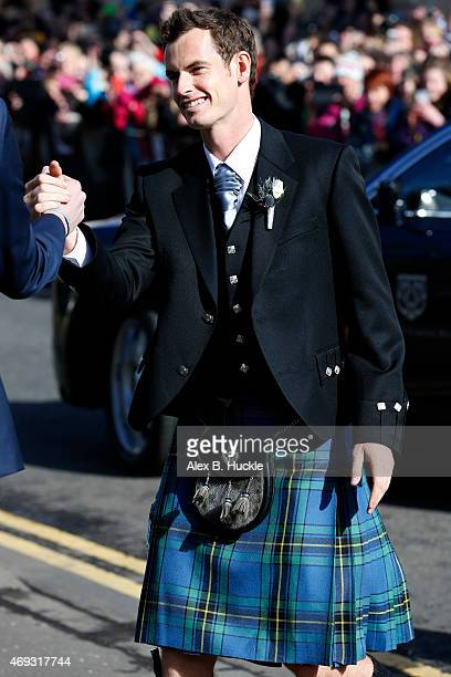 Andy Murray arrives at Dunblane Cathedral on his wedding day on April 11 2015 in Dunblane Scotland