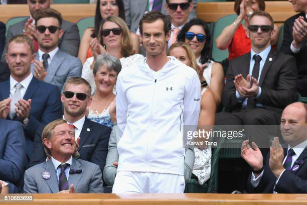 Andy Murray attends day six of the Wimbledon Tennis Championships at the All England Lawn Tennis and Croquet Club on July 8 2017 in London United...