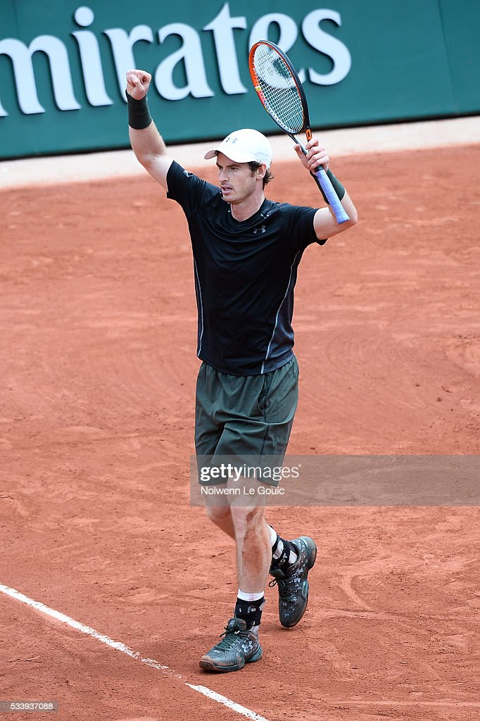 Andy Murray celebrates during the Men's Singles first round on day three of the French Open 2016 at Roland Garros on May 24, 2016 in Paris, France.