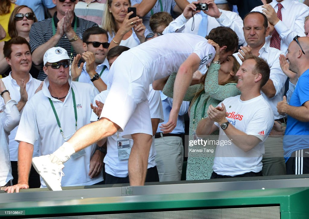 <a gi-track='captionPersonalityLinkClicked' href=/galleries/search?phrase=Andy+Murray+-+Tennis+Player&family=editorial&specificpeople=200668 ng-click='$event.stopPropagation()'>Andy Murray</a> celebrates with girlfriend Kim Sears after beating Novak Djokovic in the Mens Singles Final on Day 13 of the Wimbledon Lawn Tennis Championships at the All England Lawn Tennis and Croquet Club on July 7, 2013 in London, England.