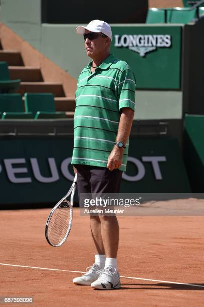Andy Murray Coach Ivan Lendl reacts during a training session at the 2017 French Open at Roland Garros on May 23 2017 in Paris France
