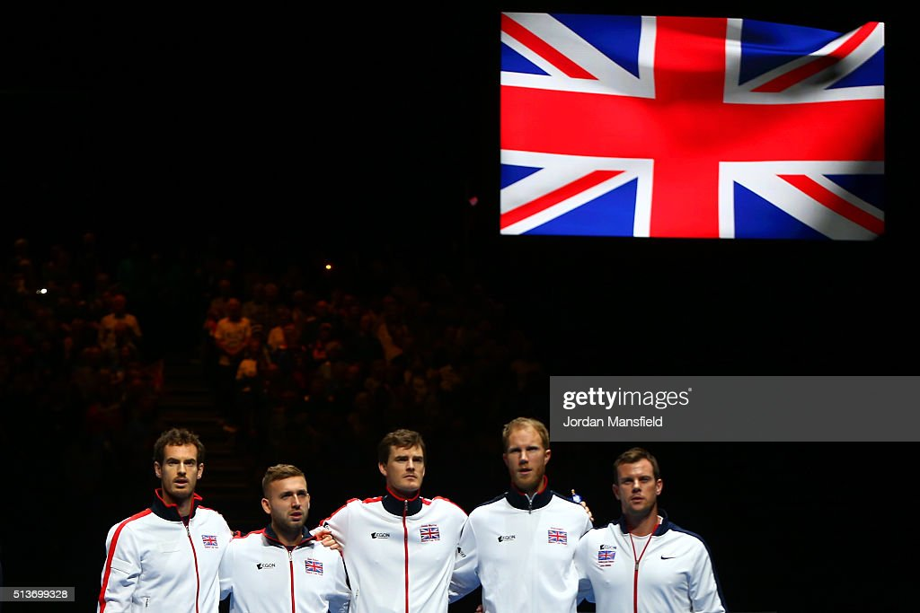 Andy Murray Daniel Evans Jamie Murray Dominic Inglot of Great Britain and Leon Smith the Great Britain team captain line up for the national anthems...