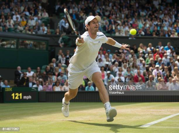 Andy Murray during his quarterfinal match against Sam Querrey during day nine of the Wimbledon Lawn Tennis Championships at the All England Lawn...
