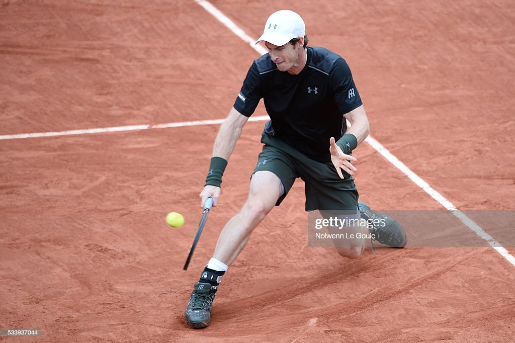 Andy Murray during the Men's Singles first round on day three of the French Open 2016 at Roland Garros on May 24, 2016 in Paris, France.