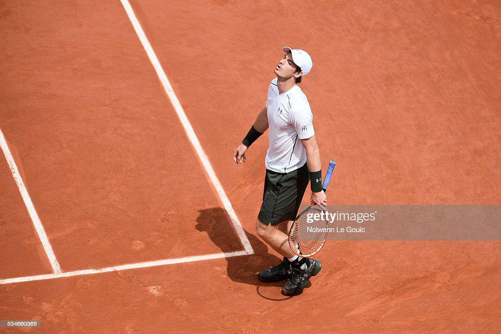 Andy Murray during the Men's Singles third round on day six of the French Open 2016 at Roland Garros on May 27, 2016 in Paris, France.