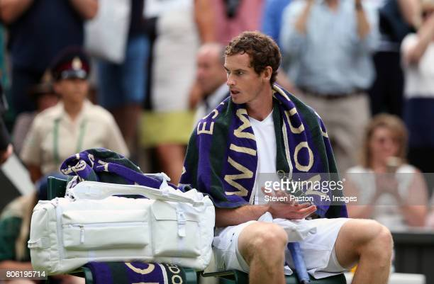 Andy Murray following his victory over Alexander Bublik on day one of the Wimbledon Championships at The All England Lawn Tennis and Croquet Club...