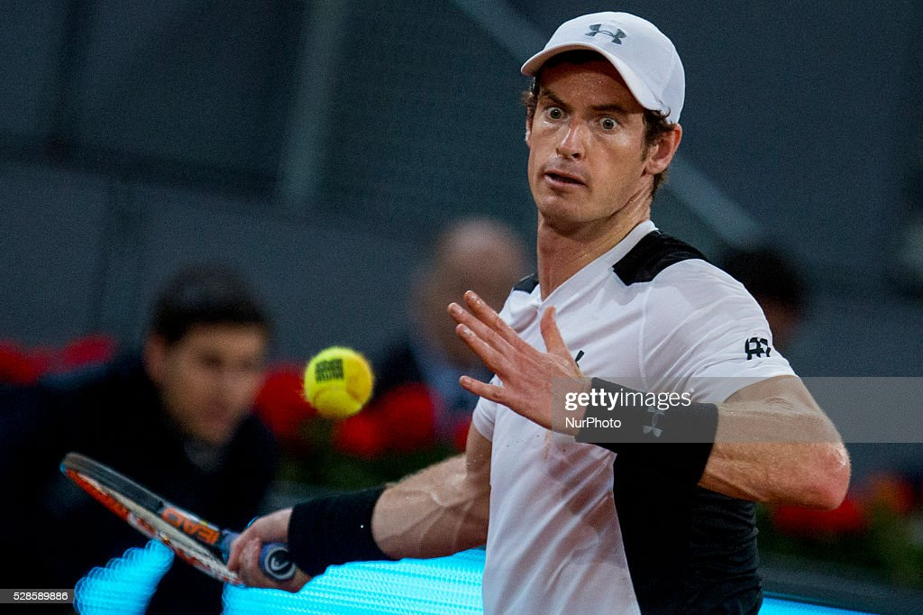 <a gi-track='captionPersonalityLinkClicked' href=/galleries/search?phrase=Andy+Murray+-+Tennis+Player&family=editorial&specificpeople=200668 ng-click='$event.stopPropagation()'>Andy Murray</a> from Britain attempt to return a ball while playing against Tomas Berdych from Czech Republic, during a Madrid Open tennis tournament match in Madrid, Spain, Friday, May 6, 2016. <a gi-track='captionPersonalityLinkClicked' href=/galleries/search?phrase=Andy+Murray+-+Tennis+Player&family=editorial&specificpeople=200668 ng-click='$event.stopPropagation()'>Andy Murray</a> won 6-3 and 6-2.