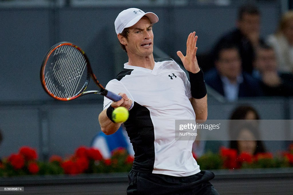 <a gi-track='captionPersonalityLinkClicked' href=/galleries/search?phrase=Andy+Murray+-+Tennis+Player&family=editorial&specificpeople=200668 ng-click='$event.stopPropagation()'>Andy Murray</a> from Britain returns a ball while playing against Tomas Berdych from Czech Republic, during a Madrid Open tennis tournament match in Madrid, Spain, Friday, May 6, 2016. <a gi-track='captionPersonalityLinkClicked' href=/galleries/search?phrase=Andy+Murray+-+Tennis+Player&family=editorial&specificpeople=200668 ng-click='$event.stopPropagation()'>Andy Murray</a> won 6-3 and 6-2.