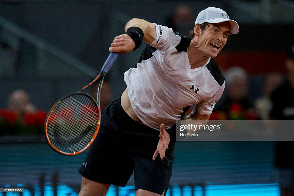 <a gi-track='captionPersonalityLinkClicked' href=/galleries/search?phrase=Andy+Murray+-+Tennis+Player&family=editorial&specificpeople=200668 ng-click='$event.stopPropagation()'>Andy Murray</a> from Britain serves against Tomas Berdych from Czech Republic, during a Madrid Open tennis tournament match in Madrid, Spain, Friday, May 6, 2016. <a gi-track='captionPersonalityLinkClicked' href=/galleries/search?phrase=Andy+Murray+-+Tennis+Player&family=editorial&specificpeople=200668 ng-click='$event.stopPropagation()'>Andy Murray</a> won 6-3 and 6-2.