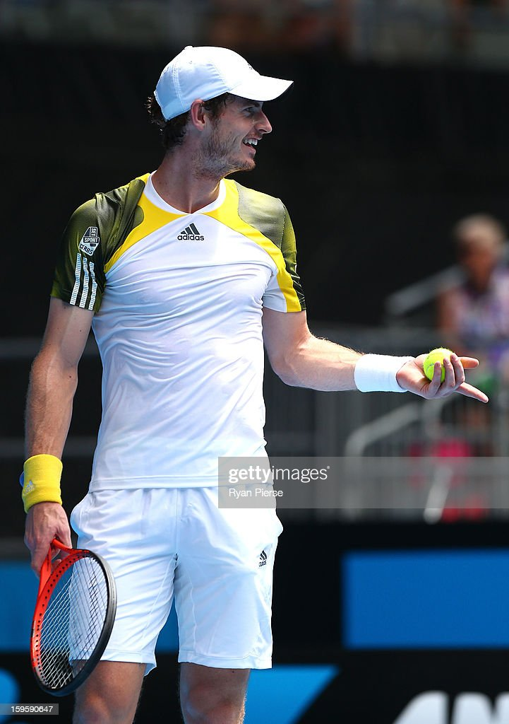 Andy Murray Great Britain reacts to a decision in his second round match against Joao Sousa of Portugal during day four of the 2013 Australian Open at Melbourne Park on January 17, 2013 in Melbourne, Australia.