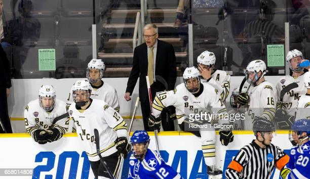 Andy Murray head coach of the Western Michigan Broncos stands behind the bench during a game against the Air Force Falcons during game two of the...