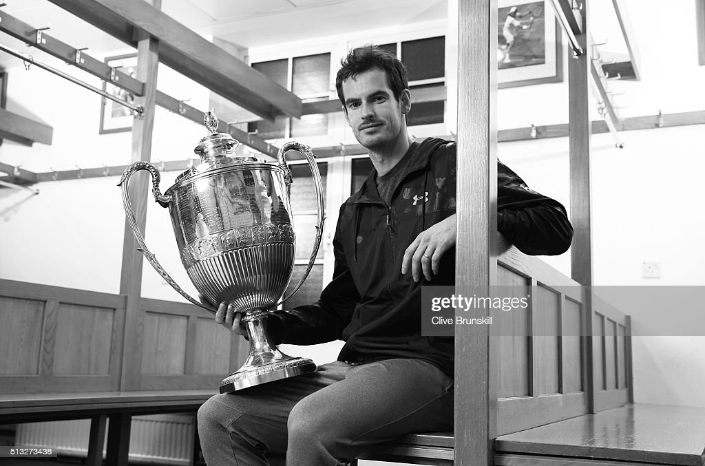 Andy Murray holds the Aegon Championships trophy at The Queens Club Dressing Rooms on February 26, 2016 in London,United Kingdom. Which he will try to win for a record fifth time in June at The Queens Club.