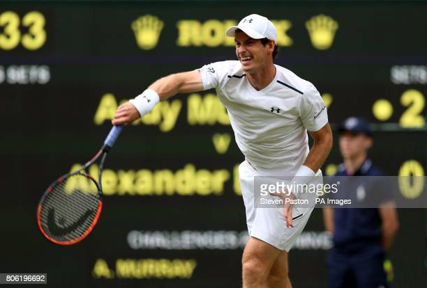 Andy Murray in action against Alexander Bublik on day one of the Wimbledon Championships at The All England Lawn Tennis and Croquet Club Wimbledon