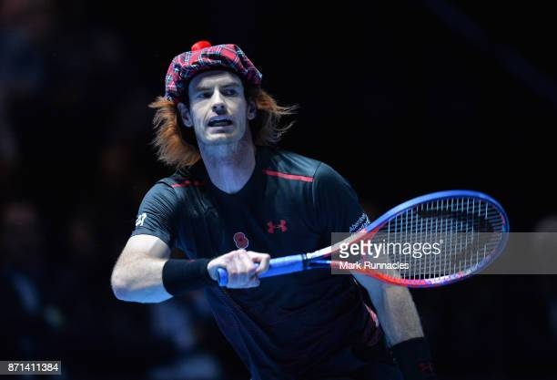 Andy Murray in action during his match against Roger Federer during Andy Murray Live at The Hydro on November 7 2017 in Glasgow Scotland