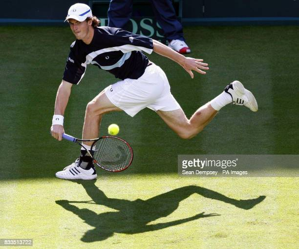 Andy Murray in his match against Marin Cilic during the first day at the All England Club Wimbledon